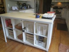 Extendable Kitchen Island using Expedit and Linmon - IKEA Hackers