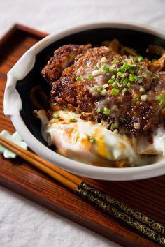 Katsudon-Pork Cutlet Bowl with Rice. Katsudon Pork Cutlet Bowl with Rice. Pork Cutlet Bowl, Pork Cutlets, Pork Loin, Pork Recipes, Asian Recipes, Cooking Recipes, Katsu Recipes, Cooking Tips, Katsudon