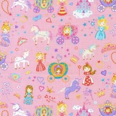 Fat Quarter Once Upon A Time Carriages Princesses Quilting Fabric - Nutex