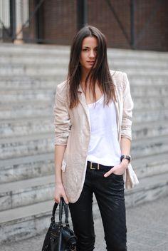 Black and white: embossed velvet - black pants, beige blazer