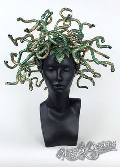 Medusa Headdress made with hand painted foam snakes with metal heads accented with painted scales, beaded trim and crystals. Attaches to the head with 2 adjustable elastic straps. Made by Caley Johnson of MissGDesignsShop $415 on Etsy
