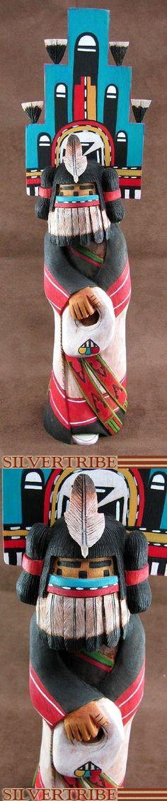 Hopi Hemis Kachina and Yellow Corn Maiden Kachina Sculpture by Robert Allison KS51459