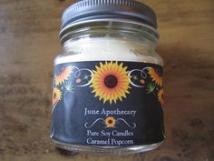 Pure Soy Candle Carmel Popcorn Fall Autumn Fragrance by JuneApothecary on Etsy