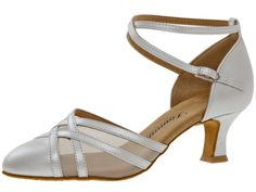 Mod. 147 Damen Tanzschuhe Made in Germany Weite E½ Normalweite Latino Absatz 5 cm weiß Perlato Nappaleder