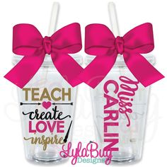 Teach Create Love Inspire Art Teacher PERSONALIZED ACRYLIC TUMBLER - TEACHER GIFT - TEACHER'S AIDE GIFT - TEACHER APPRECIATION
