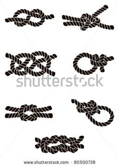Silhouette collection of seven knots: from left to right - top to bottom: 1. Figure of Eight Knot, 2. Sheet Bend, 3. Carrick Bend, 4. Hammoc...