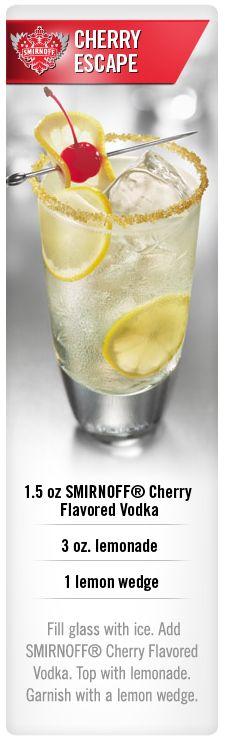 Smirnoff Cherry Escape cocktail with Smirnoff Cherry flavored vodka and lemonade. #Smirnoff #vodka #drink #recipe