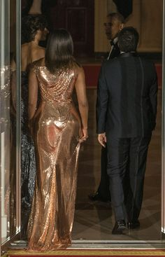 First Lady Michelle Obama in Versace