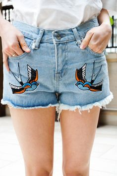 Swallow Embroidered Denim Shorts