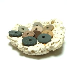 Beach Stones WAYFARERS Pebbles Cairn Set Jewelry Beads Eco Spacers Lake Rocks Big Center Holes Natural Rock Finds Colorful Discs by StoneMe on Etsy