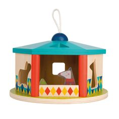 Wooden House Shape Sorter features gorgeous, hand-painted wooden animals that can be sorted into their round six-sided house along with colorful blocks. The vibrantly colored Shape Sorter features a carry cord atop the roof so toddlers can take it with th Baby Activity Toys, Infant Activities, Learning Toys, Early Learning, Little Unicorn, Wooden Animals, Wooden House, Toddler Gifts, Traditional House