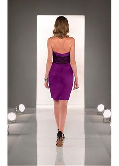 Stunning Lace & Stretch Satin Strapless Neckline Knee-length Sheath Homecoming Dress
