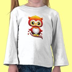 Cute baby owl with heart kids shirt