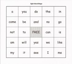 Grade 1 Sight Words, Sight Word Bingo, Dolch Sight Words, Sight Word Worksheets, Sight Word Practice, Sight Word Activities, Abc Activities, Educational Activities, Education And Literacy