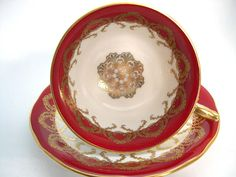 Aynsley Tea Cup and Saucer Set Maroon Red and Gold Medallion