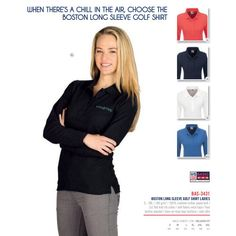 Creative Brands are Leaders in Branding of Gifts, Clothing & Marketing Merchandise. Marketing Merchandise, Golf Shirts, Shirt Outfit, Boston, Lady, Long Sleeve, Clothes, Shopping, Outfits