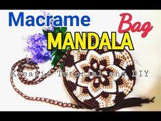 Mandala macrame bag part 1 ( Tutorial tas tali kur bulat motif mandala p. Macrame Purse, Macrame Knots, Micro Macrame, Macrame Jewelry, Backpack Straps, Crochet Handbags, Handmade Bags, Fun Crafts, Purses And Bags
