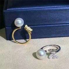 freshwater pearl Sterling Silver Butterfly Ring,(03037)