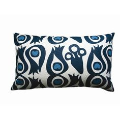 "Balanced Design Hand Printed Peacock Cotton Throw Pillow Size: 12"" x 20"""