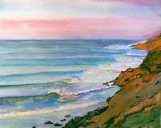 Fine Art Print of the Big Sur Coast Cliffs - watercolor painting on archival art paper, or durable vibrant metal (#80010) by art4sea on Etsy