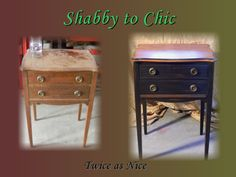 Custom Black Real Milk Paint and pecan stained night stand. www.facebook.com/pages/Twice-as-Nice/153051561387575