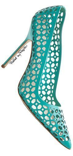 Manolo Blahnik ~ Spring Cut-Out Pumps, Aqua 2015 Aren't these refreshing?