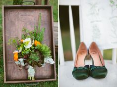 Spring Wedding Inspiration: Nature as Science.  Maybe not green shoes... But I like the fern and succulent!