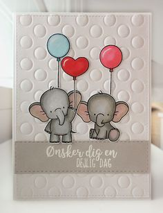 "Card critters elephant balloon balloons MFT Adorable elephants Die-namics #mftstamps peek a booh cover up background die used for embossing, sentiment stamp Gitte's Eget Design Clearstamp Set - Brush Script / Glade Hilsener 50-56922 Hobbyboden ""Ønsker dig en dejlig dag"" - JKE"