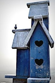 Blue Birdhouse with Heart Windows _____________________________ Reposted by Dr. Veronica Lee, DNP (Depew/Buffalo, NY, US)