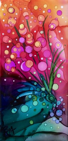 Candy Bouquet  ~Alcohol Ink on ceramic tile
