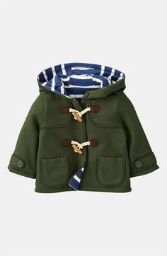 Mini Boden Duffle Coat (Infant). Toggle closures update a handsome jacket with bright, striped lining for whimsy.