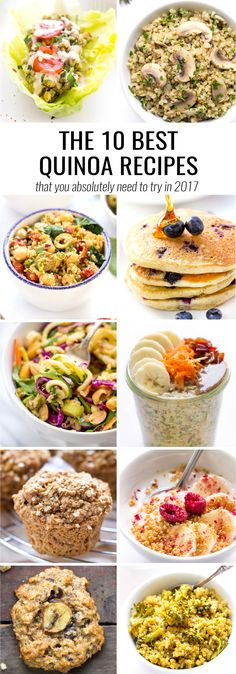 A list of the absolute best quinoa recipes of 2016! Recipes include pancakes, muffins, cookies, salads, snacks, stews and more. All healthy and delicious!