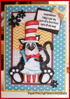 Birthday paper pieced Cat in the Hat card created by PAPER PIECING MEMORIES BY BABS, pattern by KaDoodle Bug Designs
