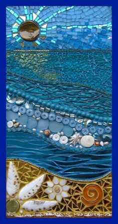 """CRYSTAL POOLS          Made from Cowrie shell, gold foil beads, shells, dichroic glass swirl, mother of pearl, sea glass, millefiori, genuine turquoise, freshwater pearls, lampwork beads, mirror glass, tempered glass and iridised glass.    Measures 43 x 26cm    (17 x 9"""")    See tutorial by clicking on """"How to mosaic a seascape"""" in the category section on the left.:"""