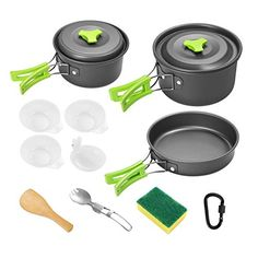 Gonex Camping Cookware Set Mess Kit, Backpacking Gear Cooking Equipment Stackable Portable Non Stick Pot Pan Cook for Outdoors Hiking Wooden Spatula, Wooden Spoons, Casseroles, Cooking Equipment, Backpacking Gear, Non Stick Pan, Cookware Set, Grills, Shun Cutlery