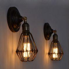 Loft Cage lampes pour mur Vintage industrielle appliques murales edison fixture éclairage extérieur appliques