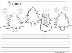 This is a free snowman writing template for beginning writers.