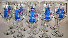 bridesmaid gifts; hand painted wedding wine glasses