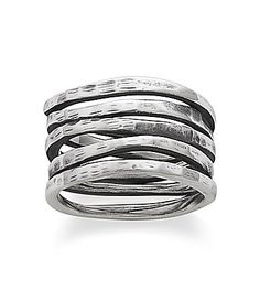 James Avery Stacked Sterling Silver Hammered Ring #Dillards