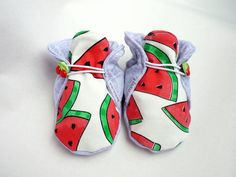 Cool summer baby shoes, toddler shoes, girls slippers, newborn crib shoes, baby booties, 100% cotton, watermelon