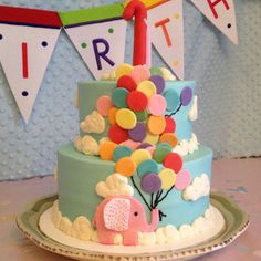 Girls first birthday cake : made by Lisa Hambrick , Marble Falls ,Tx. Girls First Birthday Cake, 1st Birthday Cakes, Birthday Ideas, Balloon Birthday, Elephant Cakes, Balloon Cake, Festa Party, Novelty Cakes, Girl Cakes
