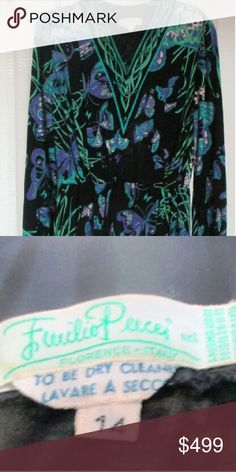 """1960's Emilio Pucci Silk Dress Emilio Pucci Vintage 1960's Print?Dress Beautiful slinky mod print dress. Gorgeous condition.  Vintage size 14.  Vintage Pucci dressFeatures a butterfly print throughout in teal and purple shades V-neckline with border print Elasticized waistbandSnap closures at the cuffsMeasurements: Bust - 34'', Waist - 26'', Length from shoulder to hem - 43""""  Thanks for looking!  ?  ? Emilio Pucci Dresses Long Sleeve"""