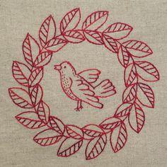 Laurel Wreath with Bird Redwork Pattern