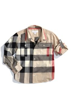 Burberry Check Print Woven Shirt (Little Boys) available at #Nordstrom