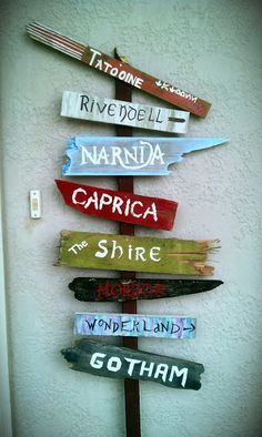 Easy DIY street sign to welcome guests into your home or direct them to your favorite fantasy world. Easy DIY street sign to welcome guests into your home or direct them to your favorite fantasy world.