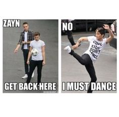 Its funny cause his shirt says cool kids don't dance.....that's okay Zayn. I'm not cool either :p