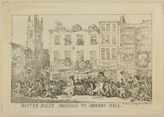 'Master Billy's Procession to Grocers Hall', by Thomas Rowlandson, March 1784. A large crowd accompanied Pitt when he went to receive the freedom of the City of London at Grocers Hall in February 1784. (Royal Collection Trust)