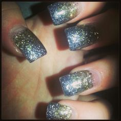 Charcoal grey and gold glitter fade.  Fall acrylic nails