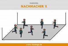 Fangspiel: Nachmacher X - kleines Spiel Scandal Abc, Physical Education, Physics, Kindergarten, Dance, Teaching, School, Fitness, Kids