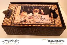An ABC Primer pencil box and mini album by the amazing Clare Charvill #graphic45